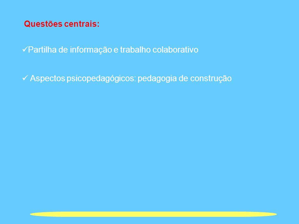 Questões centrais: Partilha de informação e trabalho colaborativo Aspectos psicopedagógicos: pedagogia de construção