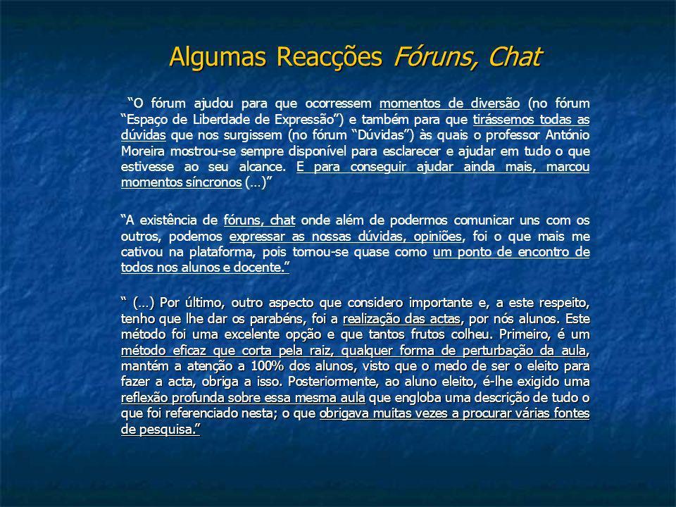 Algumas Reacções Fóruns, Chat –O fórum ajudou para que ocorressem momentos de diversão (no fórum Espaço de Liberdade de Expressão) e também para que t