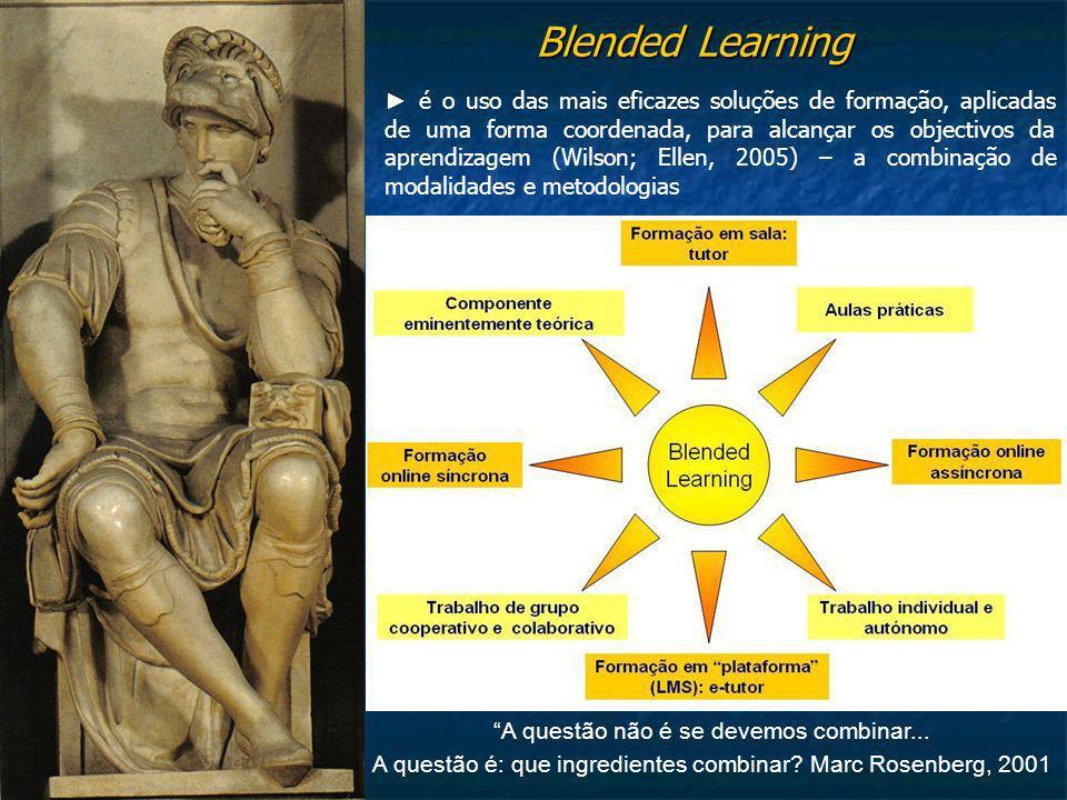 Blended Learning é o uso das mais eficazes soluções de formação, aplicadas de uma forma coordenada, para alcançar os objectivos da aprendizagem (Wilso