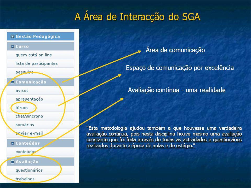 A Área de Interacção do SGA Espaço de comunicação por excelência Área de comunicação Avaliação contínua - uma realidade Esta metodologia ajudou também