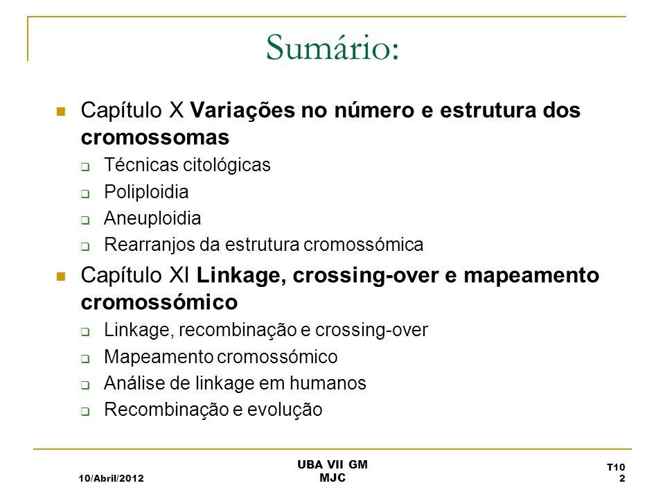 Sumário: Capítulo X Variações no número e estrutura dos cromossomas Técnicas citológicas Poliploidia Aneuploidia Rearranjos da estrutura cromossómica