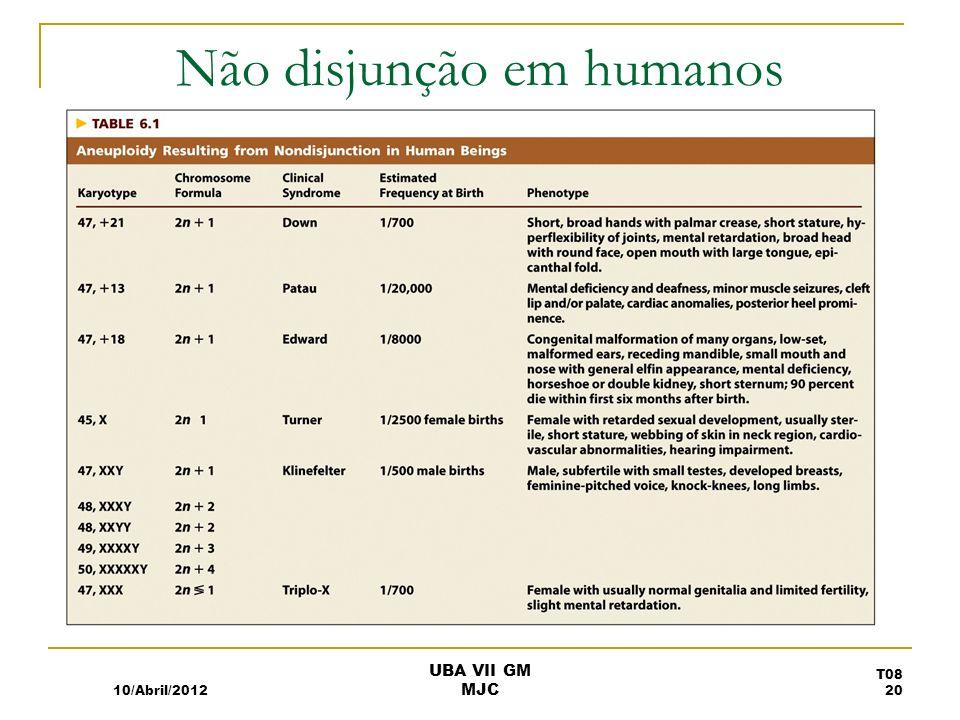 Não disjunção em humanos 10/Abril/2012 T08 20 UBA VII GM MJC