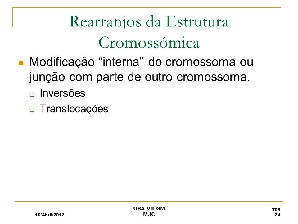 Rearranjos da Estrutura Cromossómica Modificação interna do cromossoma ou junção com parte de outro cromossoma. Inversões Translocações 10/Abril/2012