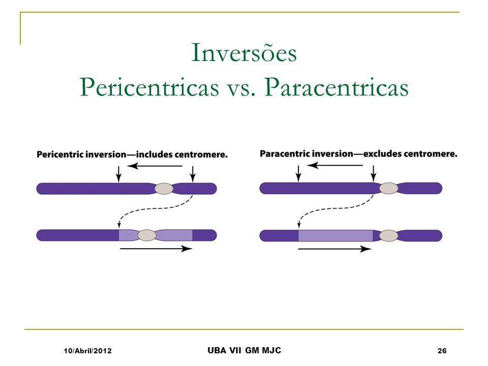 Inversões Pericentricas vs. Paracentricas 10/Abril/201226 UBA VII GM MJC