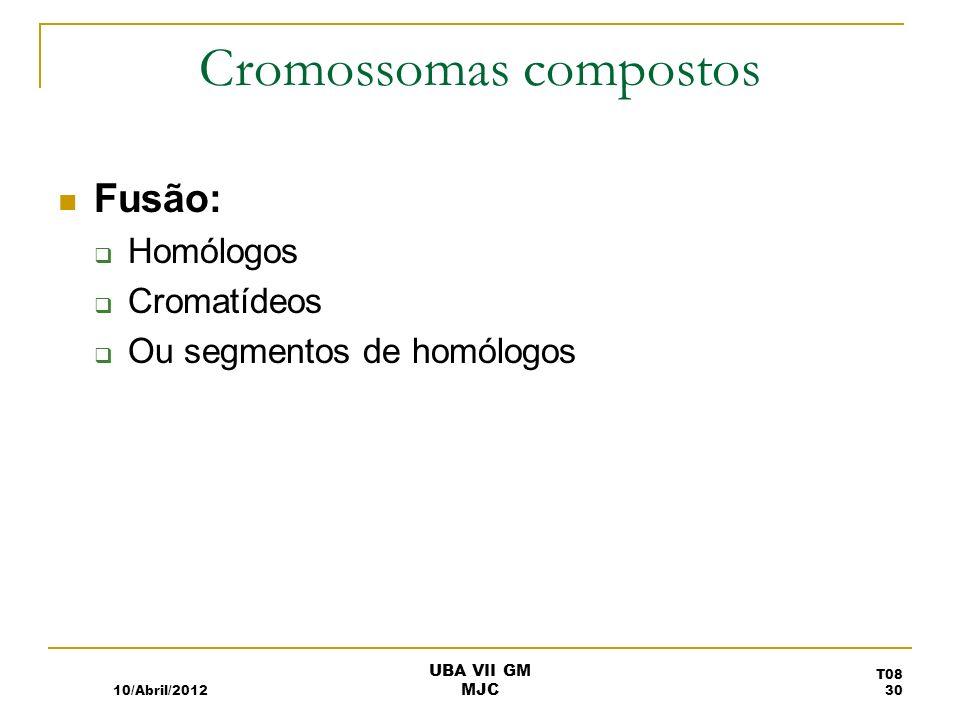 Cromossomas compostos Fusão: Homólogos Cromatídeos Ou segmentos de homólogos 10/Abril/2012 T08 30 UBA VII GM MJC