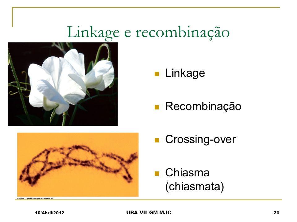 Linkage e recombinação Linkage Recombinação Crossing-over Chiasma (chiasmata) 10/Abril/201236 UBA VII GM MJC