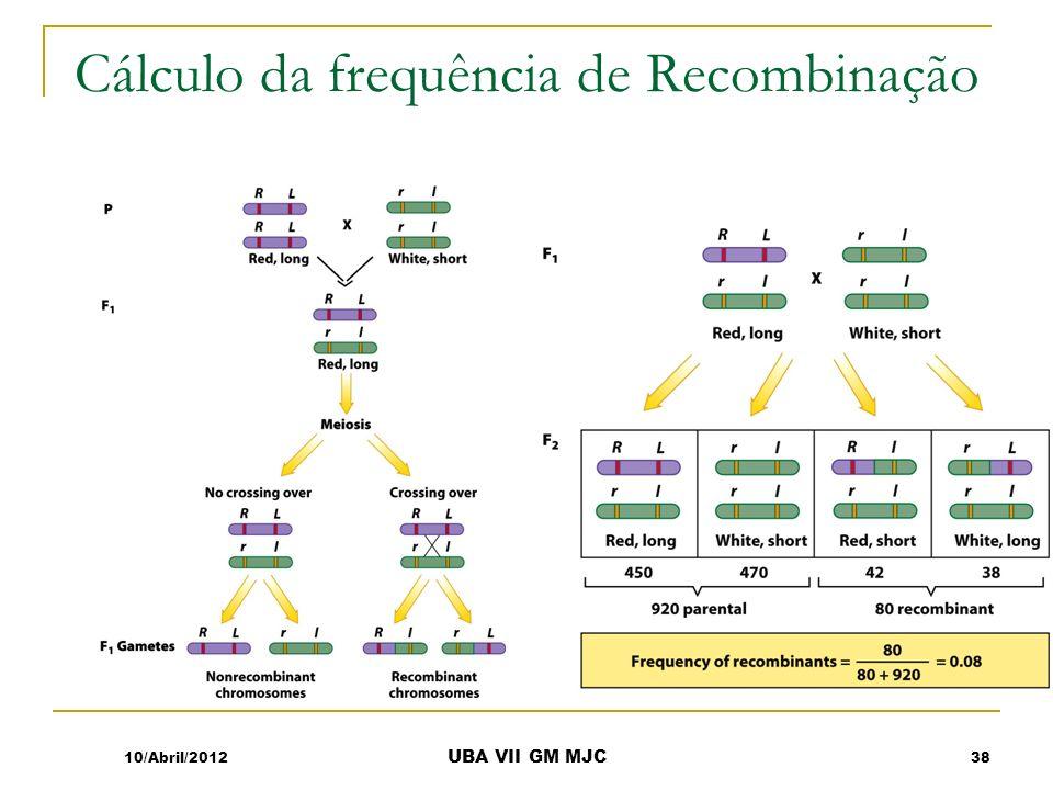 Cálculo da frequência de Recombinação 10/Abril/2012 UBA VII GM MJC 38