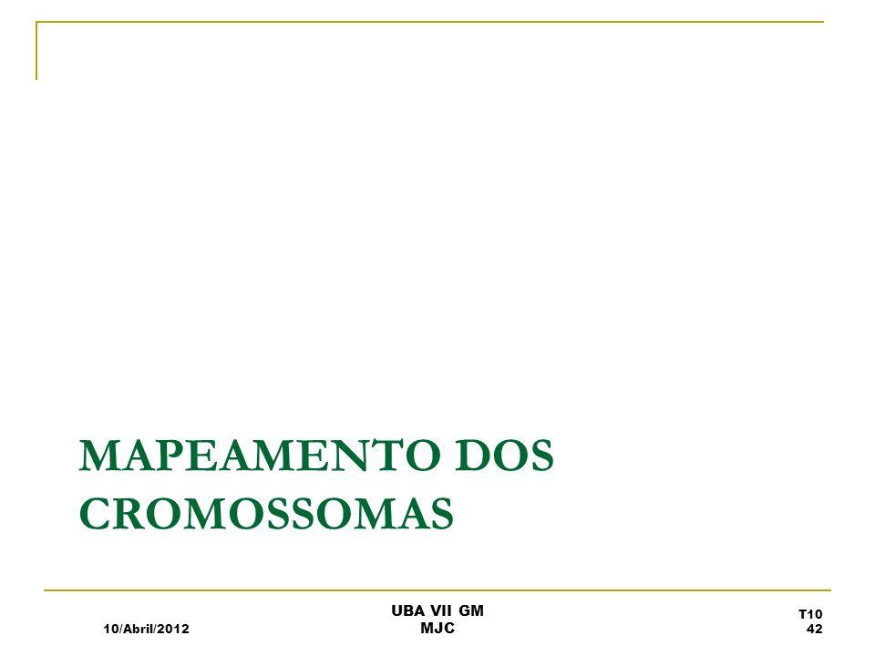 MAPEAMENTO DOS CROMOSSOMAS 10/Abril/2012 UBA VII GM MJC T10 42