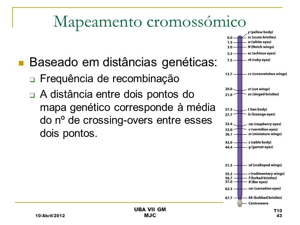 Mapeamento cromossómico Baseado em distâncias genéticas: Frequência de recombinação A distância entre dois pontos do mapa genético corresponde à média