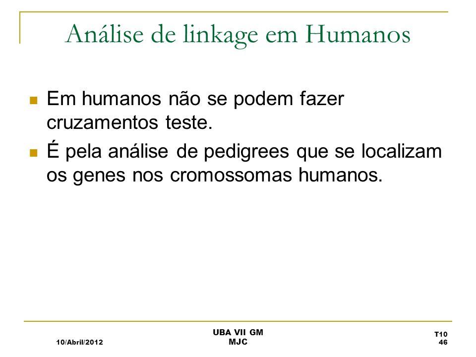 Análise de linkage em Humanos Em humanos não se podem fazer cruzamentos teste. É pela análise de pedigrees que se localizam os genes nos cromossomas h
