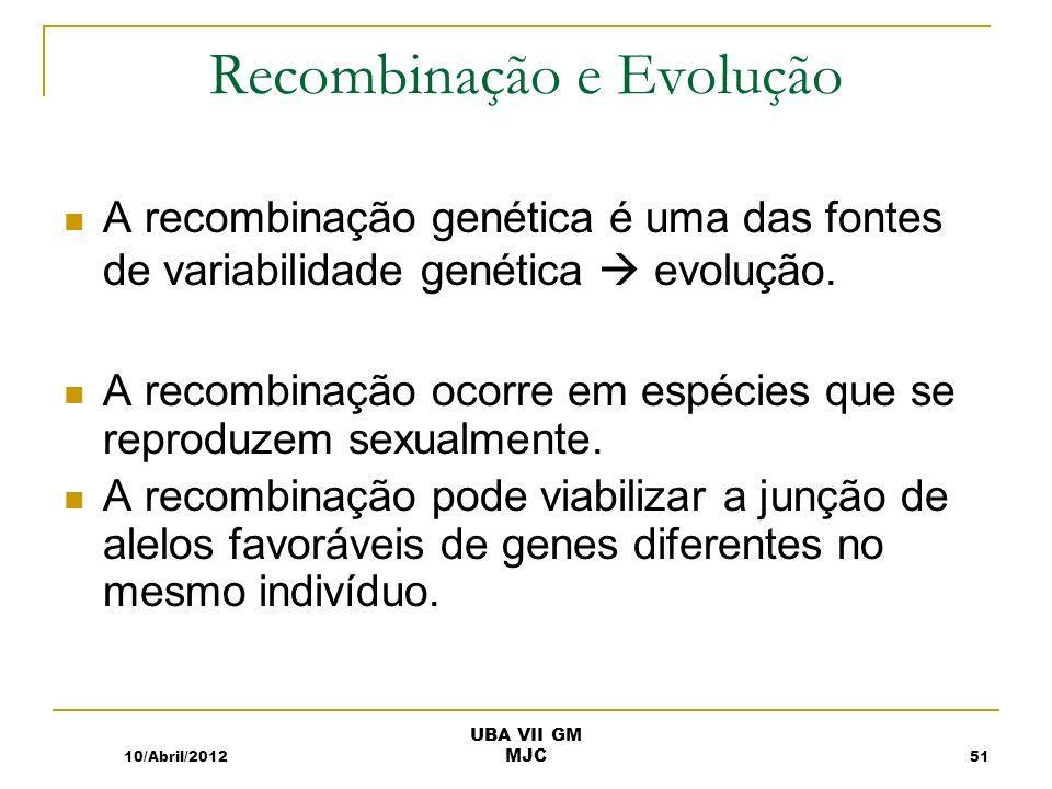 Recombinação e Evolução A recombinação genética é uma das fontes de variabilidade genética evolução. A recombinação ocorre em espécies que se reproduz