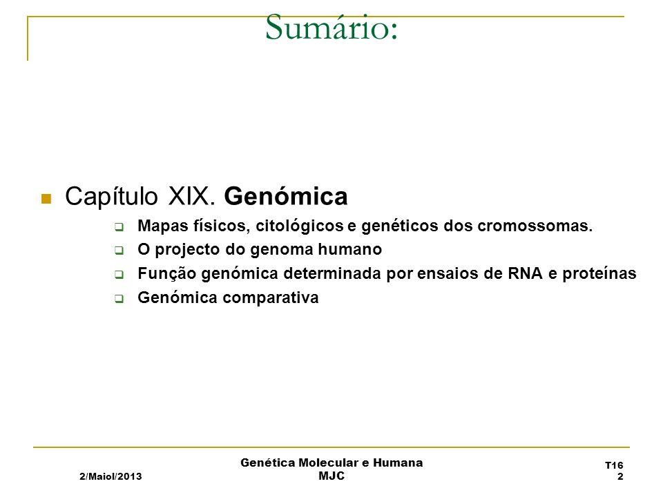 2/Maiol/2013 Genética Molecular e Humana MJC Sumário: T16 2 Capítulo XIX.