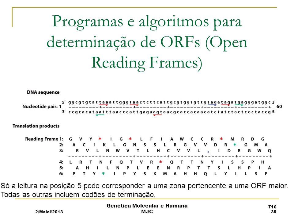 Programas e algoritmos para determinação de ORFs (Open Reading Frames) Só a leitura na posição 5 pode corresponder a uma zona pertencente a uma ORF maior.