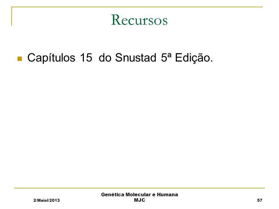 2/Maiol/2013 Genética Molecular e Humana MJC Recursos Capítulos 15 do Snustad 5ª Edição. 57