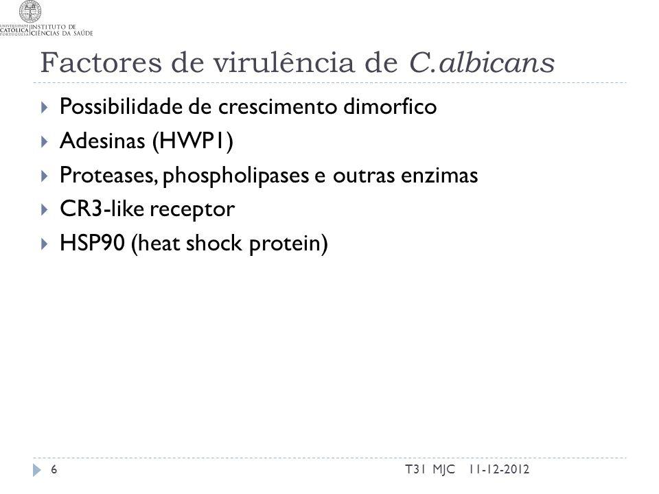 Candidiase Oral A micose oral mais frequente Comuns em pacientes com deficiências nas células T Tradicionalmente (1966) classificavam-se em Agudas Pseudomembranosa Atrófica Crónicas Atrófica Hiperplástica Há ainda lesões associadas a Candida mas que podem ter influências bacterianas (queilite angular, estomatite prostética, glossite rombóide mediana) Actualmente: Infecção por HIV Imunosuprimidos (ex: transplantados e asmáticos) Pseudomembranosa pode ser aguda ou crónica Atrófica é substituído por eritematosa 11-12-20127T31 MJC