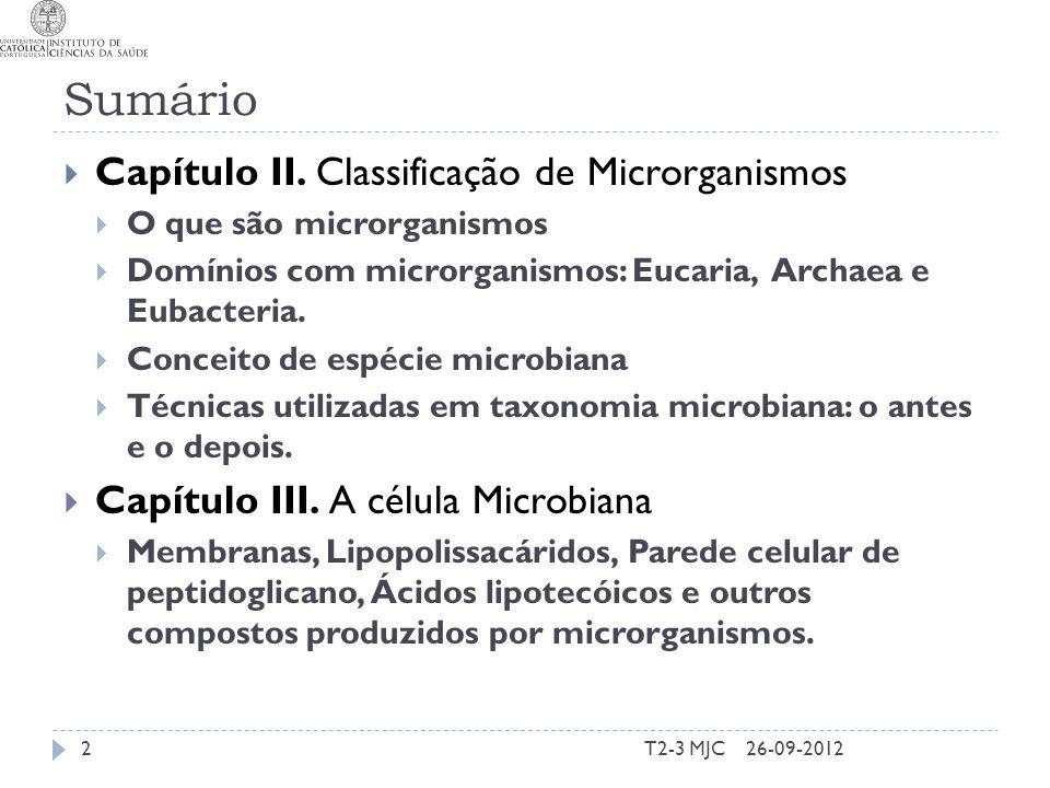 Sumário T2-3 MJC2 Capítulo II. Classificação de Microrganismos O que são microrganismos Domínios com microrganismos: Eucaria, Archaea e Eubacteria. Co