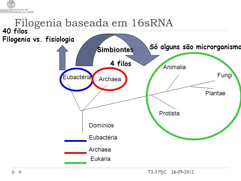 Filogenia baseada em 16sRNA T2-3 MJC4 Eubactéria Archaea Protista Plantae Animalia Fungi Domínios Eubactéria Archaea Eukaria 40 filos Filogenia vs.