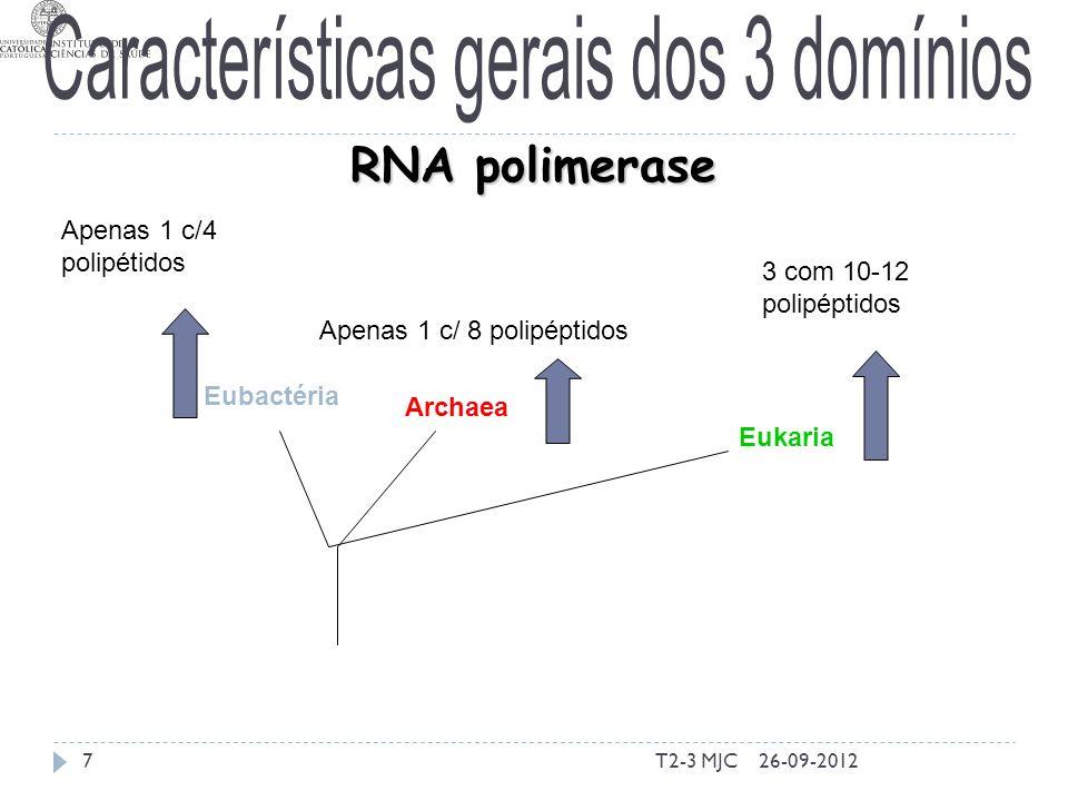 T2-3 MJC7 Eubactéria Archaea Eukaria RNA polimerase Apenas 1 c/4 polipétidos Apenas 1 c/ 8 polipéptidos 3 com 10-12 polipéptidos 26-09-2012