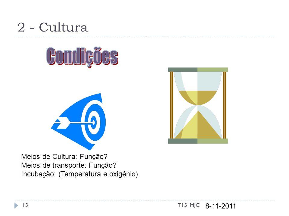 2 - Cultura 8-11-2011 13T15 MJC Meios de Cultura: Função? Meios de transporte: Função? Incubação: (Temperatura e oxigénio)