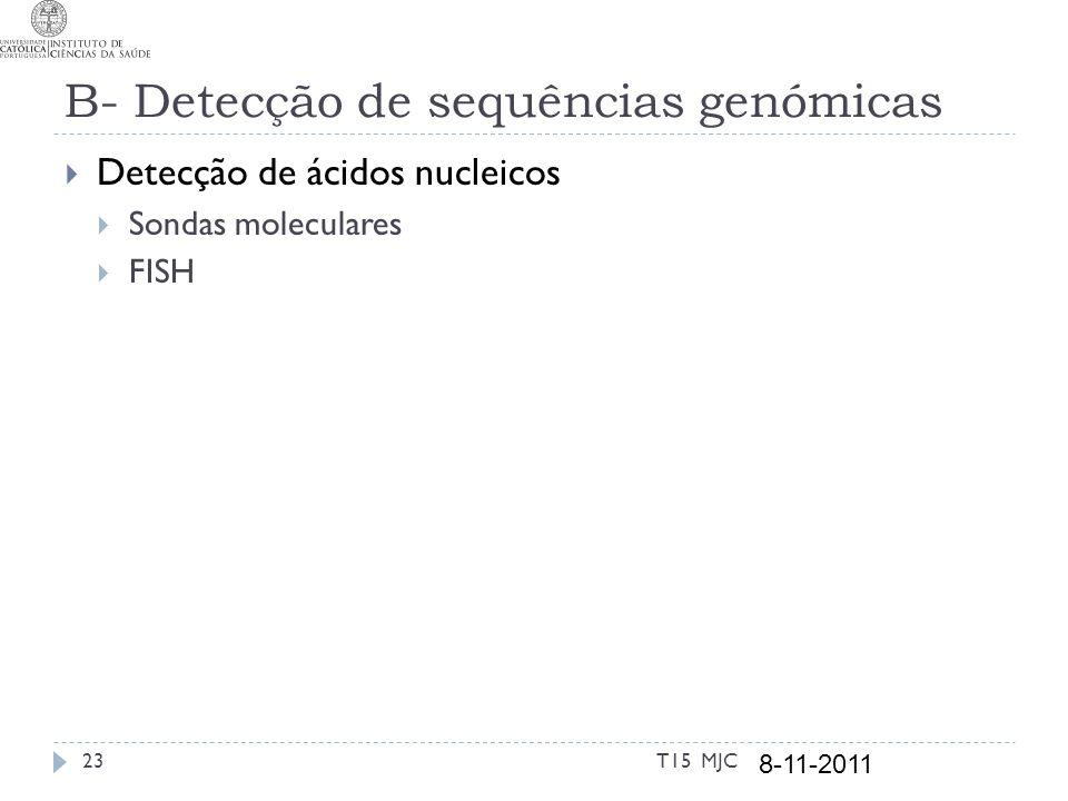 B- Detecção de sequências genómicas Detecção de ácidos nucleicos Sondas moleculares FISH T15 MJC 8-11-2011 23