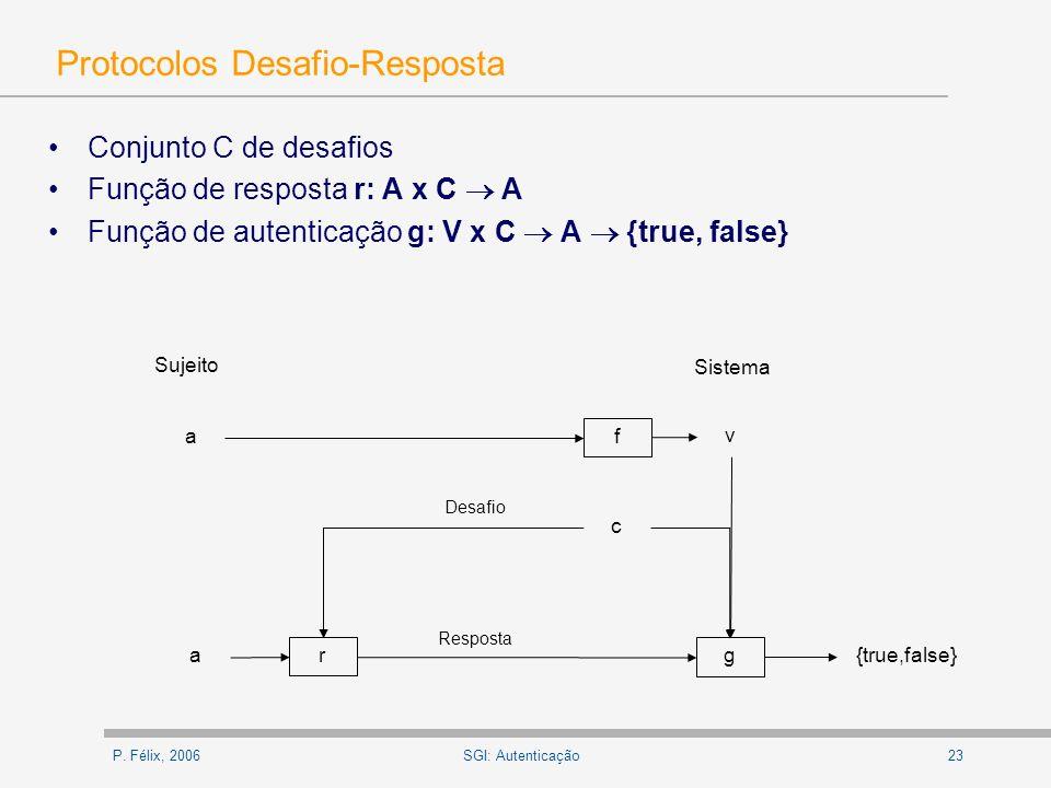 P. Félix, 200623SGI: Autenticação Protocolos Desafio-Resposta Conjunto C de desafios Função de resposta r: A x C A Função de autenticação g: V x C A {