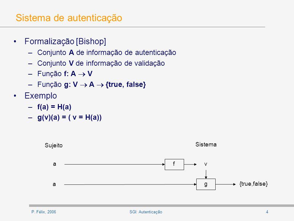 P. Félix, 20064SGI: Autenticação Sistema de autenticação Formalização [Bishop] –Conjunto A de informação de autenticação –Conjunto V de informação de