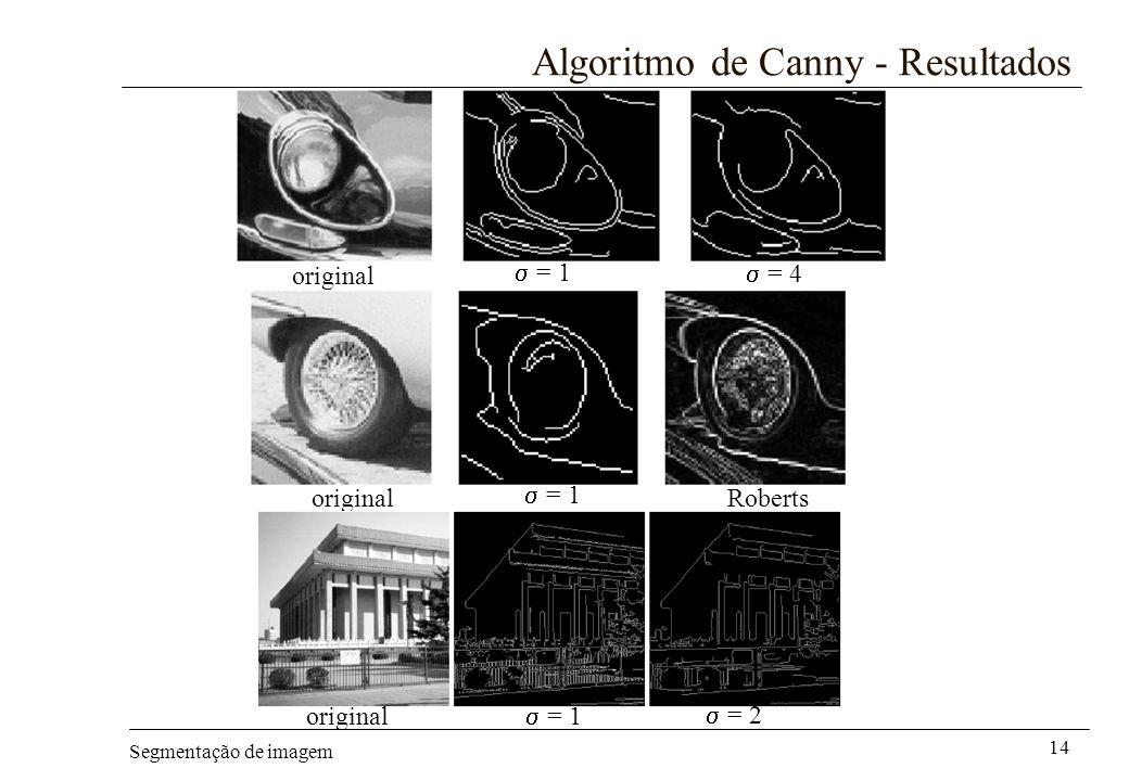 Segmentação de imagem 14 Algoritmo de Canny - Resultados = 1 = 4 = 1 Roberts original = 1 = 2