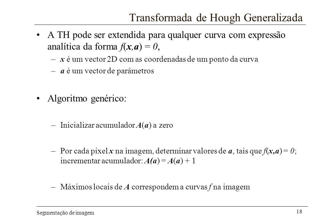 Segmentação de imagem 18 Transformada de Hough Generalizada A TH pode ser extendida para qualquer curva com expressão analítica da forma f(x,a) = 0, –