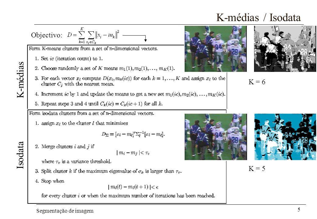 Segmentação de imagem 6 Métodos baseados em histogramas Hipótese –Os subconjuntos de pixels que originam os diferentes modos do histograma, correspondem a diferentes objectos na cena (caso binário – método de Otsu) Vantagem –Métodos deste tipo necessitam de apenas uma passagem pelos dados Exemplo –Algoritmo recursivo de Ohlander