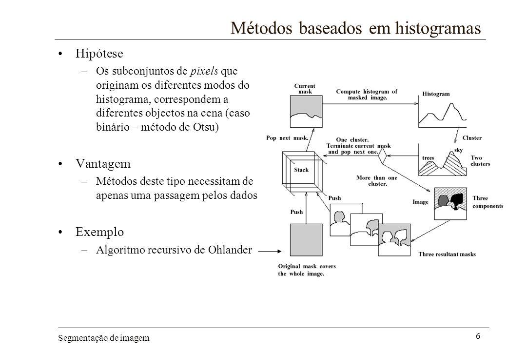 Segmentação de imagem 6 Métodos baseados em histogramas Hipótese –Os subconjuntos de pixels que originam os diferentes modos do histograma, correspond