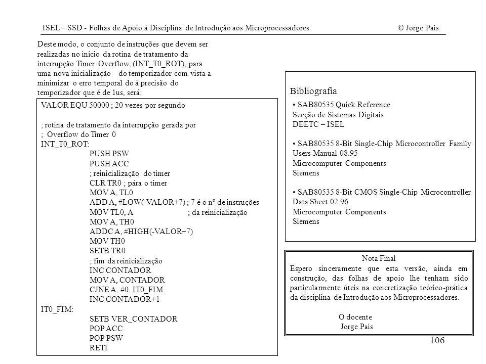 ISEL – SSD - Folhas de Apoio à Disciplina de Introdução aos Microprocessadores© Jorge Pais 106 Nota Final Espero sinceramente que esta versão, ainda e