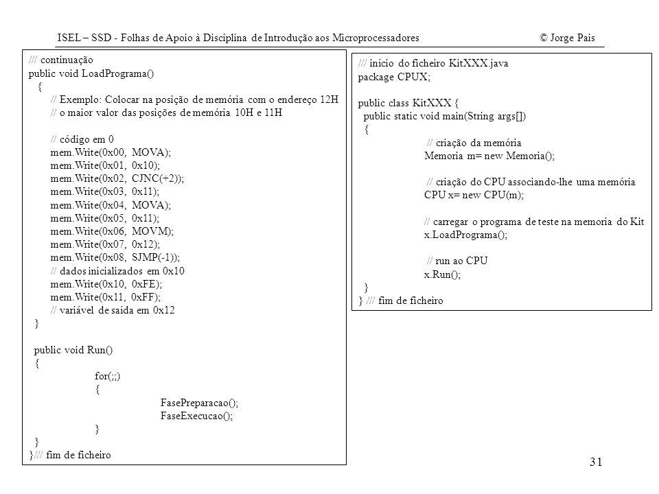 ISEL – SSD - Folhas de Apoio à Disciplina de Introdução aos Microprocessadores© Jorge Pais 31 /// continuação public void LoadPrograma() { // Exemplo: