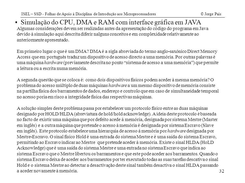 ISEL – SSD - Folhas de Apoio à Disciplina de Introdução aos Microprocessadores© Jorge Pais 32 Simulação do CPU, DMA e RAM com interface gráfica em JAV
