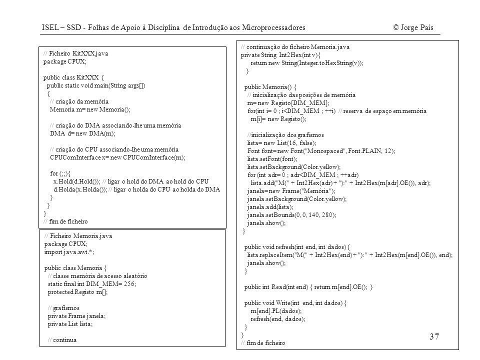 ISEL – SSD - Folhas de Apoio à Disciplina de Introdução aos Microprocessadores© Jorge Pais 37 // Ficheiro KitXXX.java package CPUX; public class KitXX
