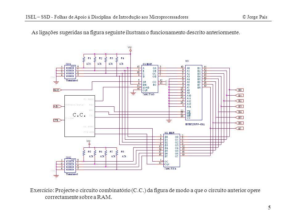 ISEL – SSD - Folhas de Apoio à Disciplina de Introdução aos Microprocessadores© Jorge Pais 26 case _CJNC:RDM(); WRTMP(); WRTCY(); CLRC(); au.run(a, mbr, ir, cy); if (!cy) ADDREL(); RDTMP(); RDTCY(); break; case _CJZ:RDM(); WRTMP(); WRTCY(); CLRC(); au.run(a, mbr, ir, cy); if (a.OE()==0) ADDREL(); RDTMP(); RDTCY(); break; case SETBC:SETC(); break; case CLRBC:CLRC(); break; default:break; } void CPU::Run() { for(;;) { FasePreparacao(); FaseExecucao(); } void main() {RAM m;// criação da memória CPU x(m);// criação do CPU associando-lhe uma memória x.Run(); // run ao CPU } //////////////// fim do ficheiro CPU.CPP ////////////////////