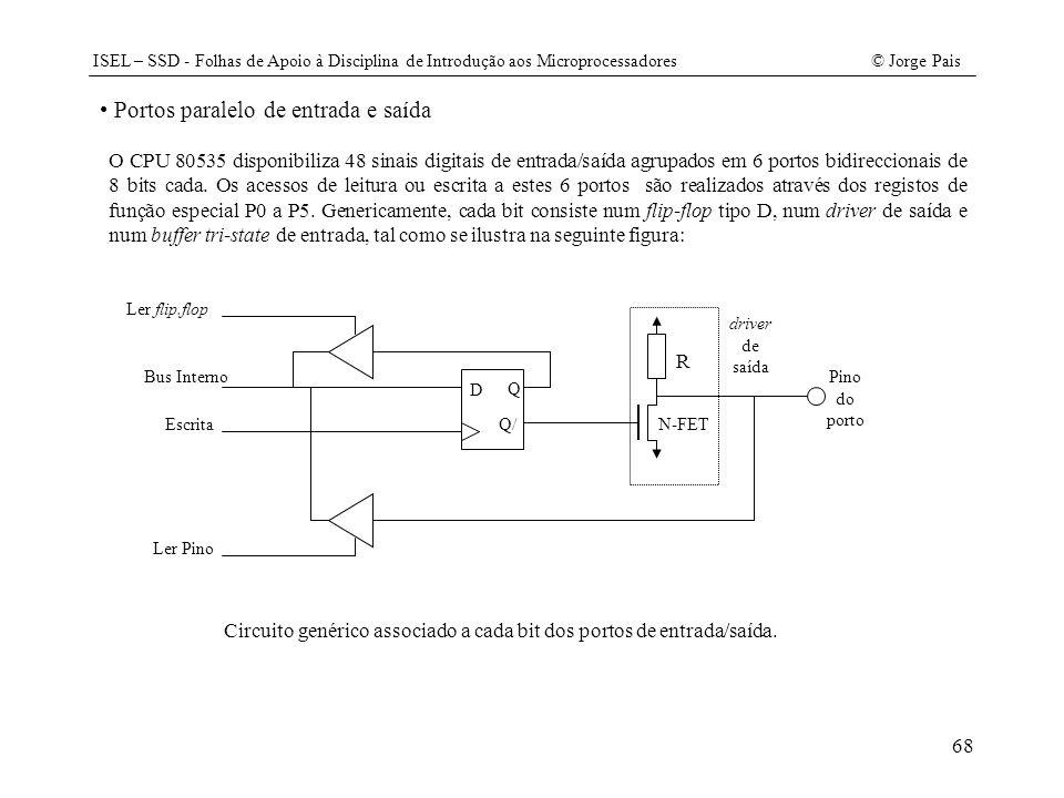 ISEL – SSD - Folhas de Apoio à Disciplina de Introdução aos Microprocessadores© Jorge Pais 68 Portos paralelo de entrada e saída O CPU 80535 disponibi
