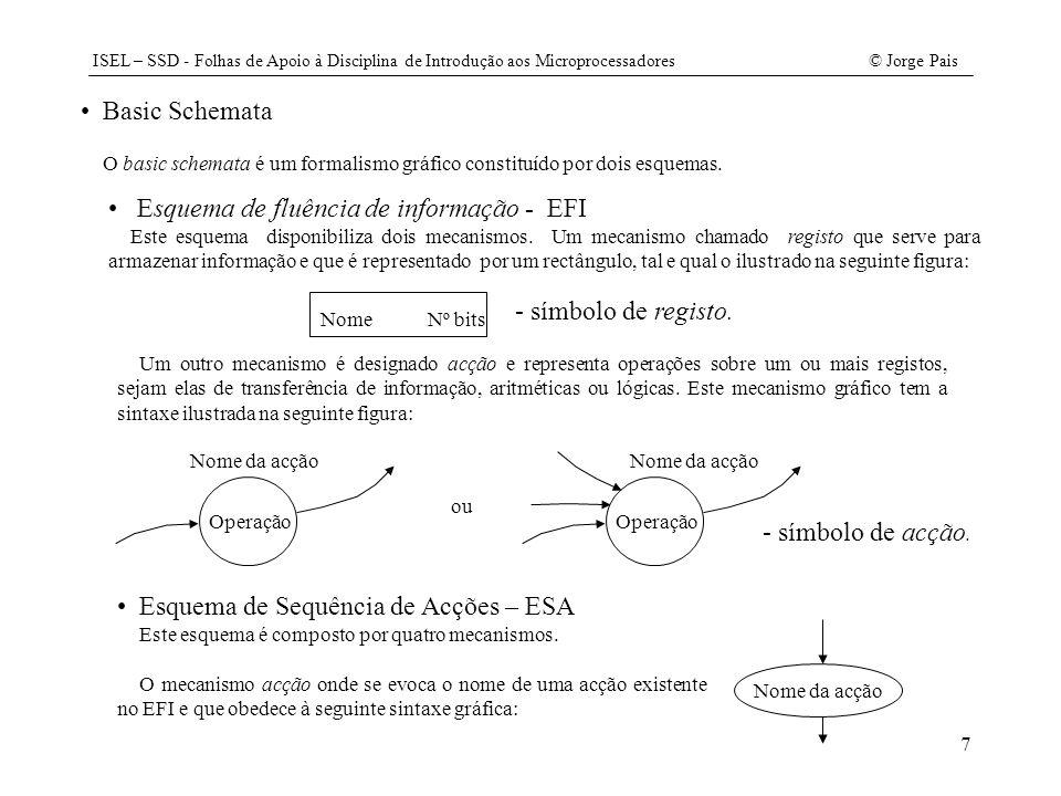 ISEL – SSD - Folhas de Apoio à Disciplina de Introdução aos Microprocessadores© Jorge Pais 38 // ficheiro DMA.java package CPUX; import java.awt.*; import java.awt.event.*; import javax.swing.*; public class DMA { private Memoria mem; private Flag holda; int estado; // interface gráfica Frame janela; Panel quadro; Button next, strobe; Label label_mbr, label_mar, label_holda; TextField mbr, mar; Checkbox hold; // variáveis para simular o clock do DMA final static int TCLOCK= 200; // 200 mse ActionListener Lclock; Timer clock; private void Run(){ switch (estado) { case 1: if (holda.OE()) estado=2; break; case 2: mbr.setText(Integer.toHexString( String2Int(mbr.getText()))); mar.setText(Integer.toHexString( String2Int(mar.getText()))); mem.Write(String2Int(mar.getText()), String2Int(mbr.getText())); estado=0; break; default: break; } label_holda.setText( HOLDA: + ((holda.OE()).