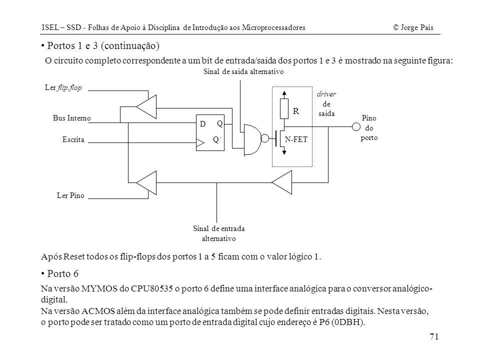 ISEL – SSD - Folhas de Apoio à Disciplina de Introdução aos Microprocessadores© Jorge Pais 71 Na versão MYMOS do CPU80535 o porto 6 define uma interfa