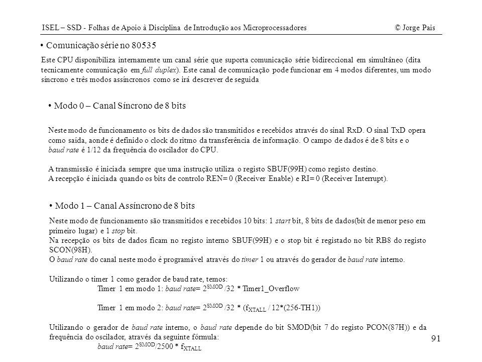 ISEL – SSD - Folhas de Apoio à Disciplina de Introdução aos Microprocessadores© Jorge Pais 91 Comunicação série no 80535 Este CPU disponibiliza intern