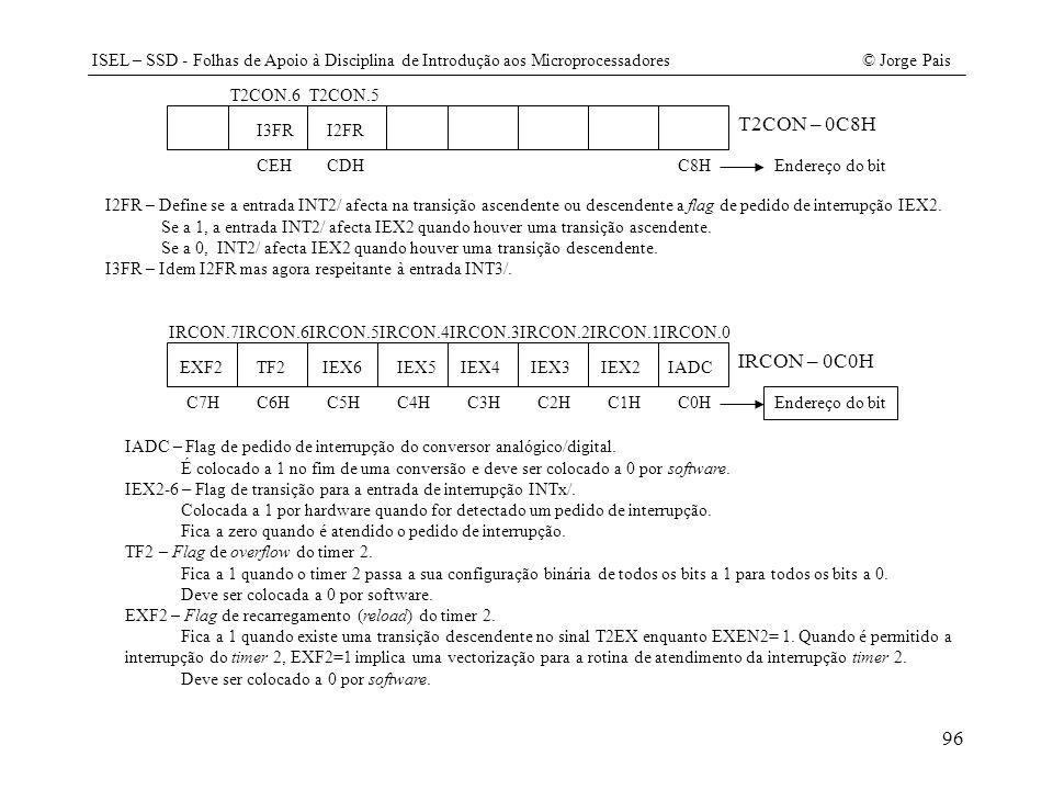 ISEL – SSD - Folhas de Apoio à Disciplina de Introdução aos Microprocessadores© Jorge Pais 96 T2CON.5T2CON.6 I2FR T2CON – 0C8H I3FR C8HCDHCEHEndereço