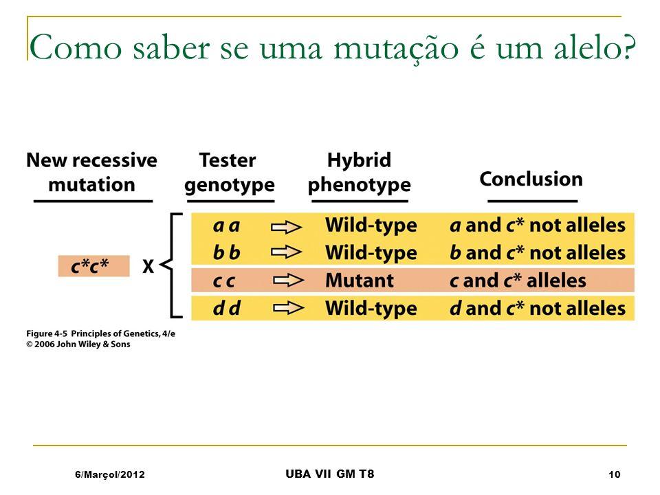 Como saber se uma mutação é um alelo? 6/Marçol/201210 UBA VII GM T8