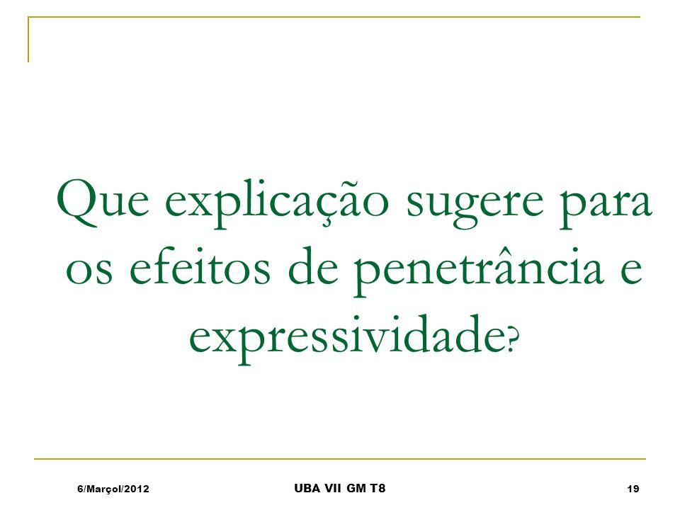 Que explicação sugere para os efeitos de penetrância e expressividade ? 6/Marçol/201219 UBA VII GM T8