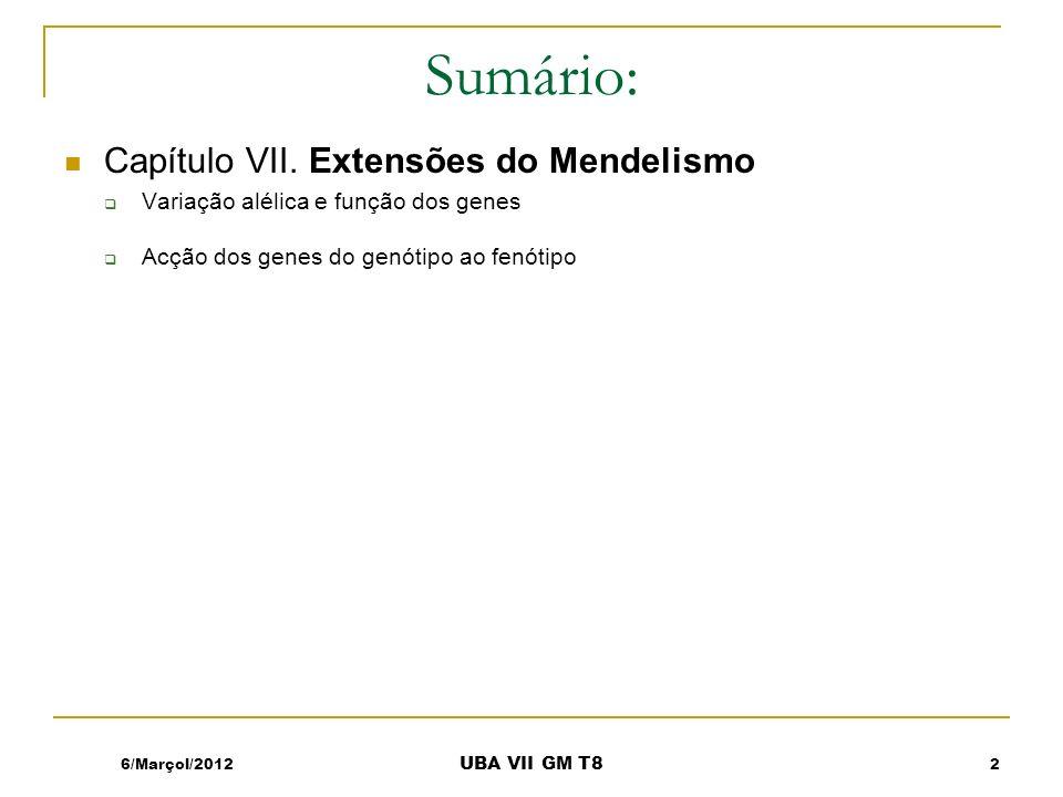 6/Marçol/2012 UBA VII GM T8 Sumário: Capítulo VII. Extensões do Mendelismo Variação alélica e função dos genes Acção dos genes do genótipo ao fenótipo