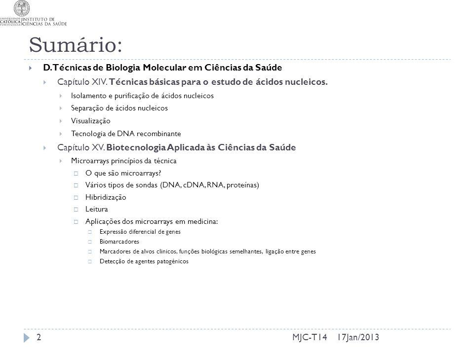 17Jan/2013MJC-T14 Sumário: D. Técnicas de Biologia Molecular em Ciências da Saúde Capítulo XIV. Técnicas básicas para o estudo de ácidos nucleicos. Is