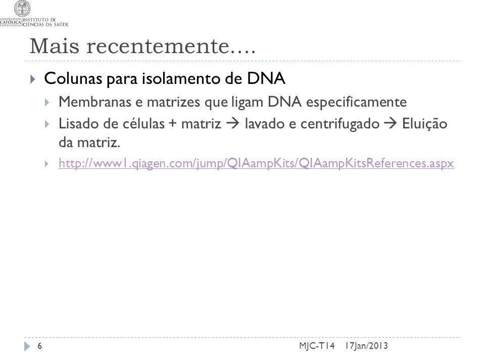 Mais recentemente.... Colunas para isolamento de DNA Membranas e matrizes que ligam DNA especificamente Lisado de células + matriz lavado e centrifuga