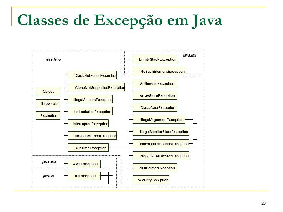 23 Classes de Excepção em Java