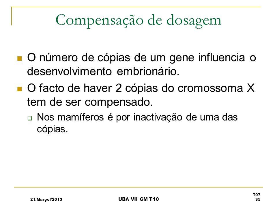 Compensação de dosagem O número de cópias de um gene influencia o desenvolvimento embrionário. O facto de haver 2 cópias do cromossoma X tem de ser co