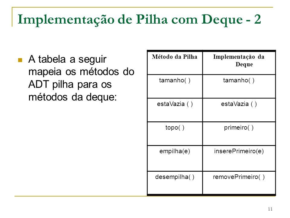 11 Implementação de Pilha com Deque - 2 A tabela a seguir mapeia os métodos do ADT pilha para os métodos da deque: Método da PilhaImplementação da Deque tamanho( ) estaVazia ( ) topo( )primeiro( ) empilha(e)inserePrimeiro(e) desempilha( )removePrimeiro( )