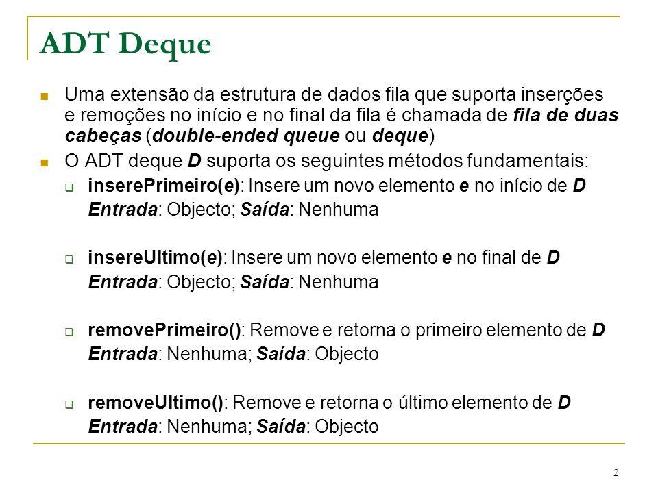 2 ADT Deque Uma extensão da estrutura de dados fila que suporta inserções e remoções no início e no final da fila é chamada de fila de duas cabeças (double-ended queue ou deque) O ADT deque D suporta os seguintes métodos fundamentais: inserePrimeiro(e): Insere um novo elemento e no início de D Entrada: Objecto; Saída: Nenhuma insereUltimo(e): Insere um novo elemento e no final de D Entrada: Objecto; Saída: Nenhuma removePrimeiro(): Remove e retorna o primeiro elemento de D Entrada: Nenhuma; Saída: Objecto removeUltimo(): Remove e retorna o último elemento de D Entrada: Nenhuma; Saída: Objecto