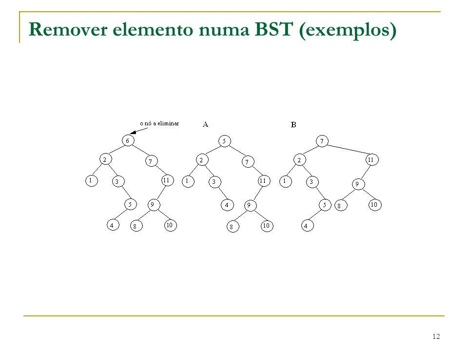 12 Remover elemento numa BST (exemplos)